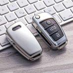 Audi : Vitorla alakú - Kulcsvédő Tok EZÜST