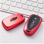 Chevrolet : Blazer / Bolt / Sonic / Malibu / Camaro / Cruze / Traverse / Trailblazer / Trax / Equinox / Spark / Volt - SMART - Kulcsvédő Tok PIROS